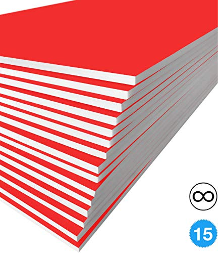 Excelsis Design, Pack of 15, Foam Boards, 20x30 Inches, Red Color (More Colors Available) 3/16 Inch Thick Mat, (Acid-Free Foam Core Backing Boards, Double-Sided Sheets)