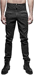 PUNK RAVE Steampunk Daily Gothic Peacock Button Man Pants Black Casual High Waist Slim-Fitting Trousers