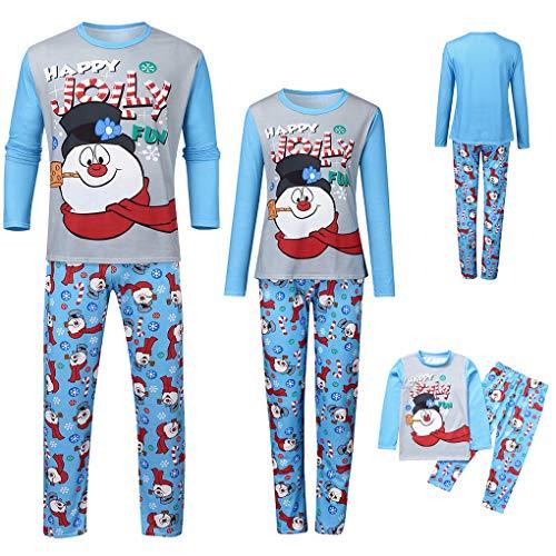 Weihnachten Familie Passende Kleidung Pyjamas Set Man Dad Kinder-Kind-Druckten Brief Top + Print Hosen Weihnachten Kleidung Homewear Pijama,Blau,MOMM