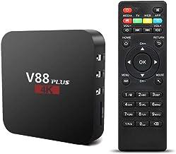 Difcuy 4K Ultra HD TV Box, V88 Plus Smart TV Rockchip 3229 Quad-Core Mali-400MP2 GPU 3D Set Top Box 1+8G Miracast 2.4G WiFi Android 7.1,US Plug