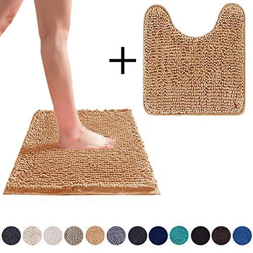 DEARTOWN Non-Slip Shaggy Bathroom Rug,Soft Microfibers Chenille Bath Mat with Water Absorbent, Machine Washable(2 Pieces:20x32+20x24U,Marzipan)