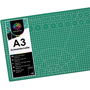 OfficeTree Set de Estera para Corte - 45x30 cm (A3) Verde - Cuadrícula y Marcas en Ambos Lados para un Corte Profesional - PVC reciblable con 5 Capas superpuestas