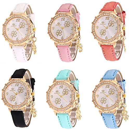 RBuy 6 Assorted Leather Band Analog Quartz Watches Set Luxury Rhinestone Inlaid Jelly Dress Wrist Watches for Women Men Lady Girls Gifts