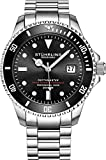 Mens Swiss Automatic Stainless Steel Professional'DEPTHMASTER' Dive Watch, 200 Meters Water Resistant, Brushed and Beveled Bracelet with Divers Safety Clasp and Screw Down Crown (Black)