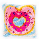 Latch Hook Kits Cushion Cover Rug Making Kits DIY for Kids/Adults with Printed Canvas Pattern Donuts17' X 17'