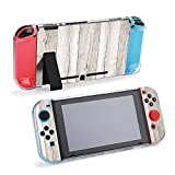 SUPNON Switch Case Compatible with Nintendo Switch Games Protective Hard Carrying Cover Case for Nintendo Switch Console Joy Con Controlle - White Wooden Textured Woodgrain Background Design24704