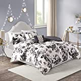 Intelligent Design Dorsey Comforter Reversible Flower Floral Botanical Printed Ultra-Soft Brushed Overfilled Down Alternative Hypoallergenic All Season Bedding-Set, Twin/Twin XL, Black/White