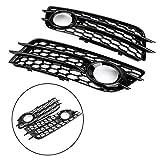 Black Honeycomb Style Fog Light Grill Bumper for Audi A4 (8K2, B8) S-LINE/ S4 2008-2012/Only for Sport Version Bruce & Shark