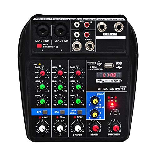 Weiming Mini USB Mezclador de Audio Mezclador de DJ 4 Canales Mesas de Mezcla de Estudio Tarjeta de Sonido Bluetooth 48V Phantom Power,Negro