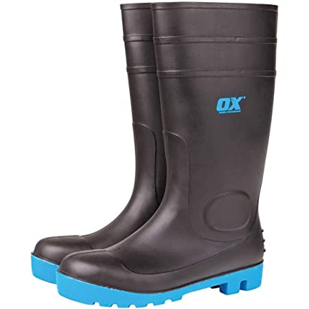 OX Safety Wellington Boot - Heavy Duty Safety Boot - Steel Toe Cap Wellies - Black / Blue - Size 10
