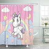 Not applicable Duschvorhang Einhorn Bunte Pony Prinzessin Regenbogen In Der Himmel Rosa Duschvorhänge Sets,72X72 In