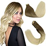 GOO GOO Blonde Hair Extensions Tape in 18 Inch Balayage Ash Brown to Platinum Blonde Ombre Hair Extensions Natural Remy Human Hair Extensions 20pcs 50g Tape in Hair Extensions Human Hair