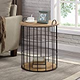 FirsTime & Co. Arborfield Basket Storage Accent Table, 23.25'H x 19'D, Rustic Light Espresso, Black