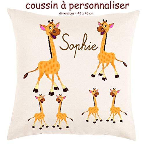 Coussin avec sa Housse Toucher très Doux Girafe Personnalisable avec un Prénom Exemple Sophie