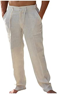 neveraway Men's Regular Fit Straight Solid Long Pants Linen Casual Trousers