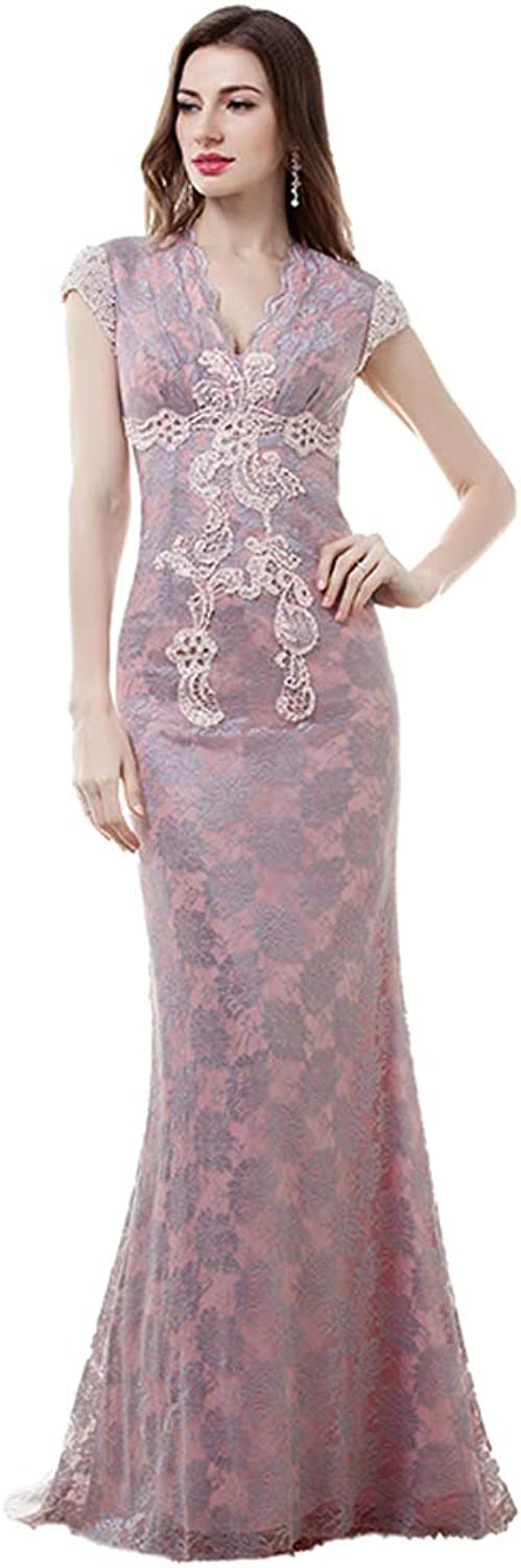 Quintion Norris Women's Retro vNeck Short Sleeves Sexy Hollow Back Evening Dress Lace Decoration Formal Party Prom Gown