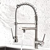 Aimadi Contemporary Kitchen Sink Faucet,Single Handle Stainless Steel Kitchen Faucets with Pull Down Sprayer,Brushed...