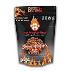 Roasted artisanal peanuts with black lava salt, red-wine vinegar and 8 types of pepper (cayenne, ancho, chipotle, jalapeno, habanero, ghost pepper, scorpion pepper & Carolina Reaper) Heat Level: INSANE! Packaged in easy to handle pouches for on-the-g...