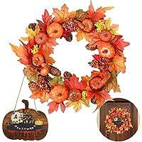 Magic4U 18 inch Harvest Autumn Wreath with Pumpkins Hanging Wooden Sign