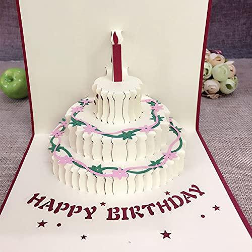 YUSWPX Tarjeta de Pastel de Regalo de cumpleaños de 3pcs Pop Up Up 3D Tarjetas de felicitación con Sobres Postal invitación Origami Artesanal Aniversario (Color, Size : 15 x 15 cm)