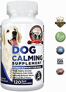 Natural Dog Calming Formula Supplement Soothes Canine Anxiety, Helps Keep Dogs Calm, Relieves Stress, Limits Barking & Chewing Fur. 120 Natural Chewables, Made in USA, 100% Guaranteed Quality