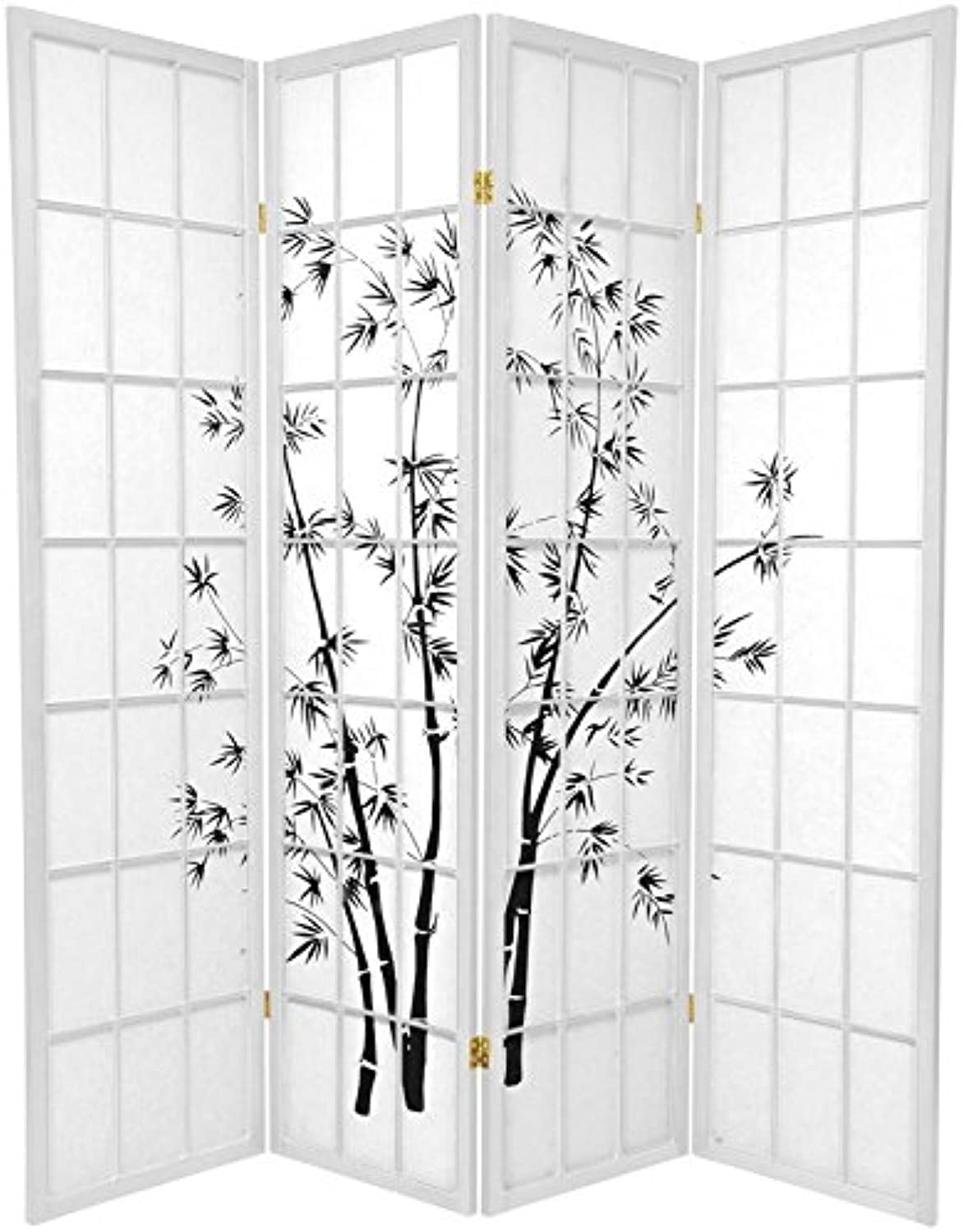 Oriental Furniture 6-Feet Tall Lucky Bamboo Japanese Style Room Divider, White, 4 Panels