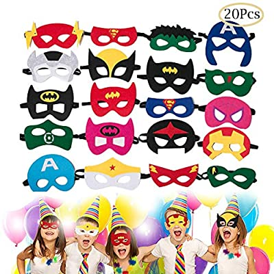 Superhero Party Supplies Party Favors Masquerade Cosplay Boys and Girls Super Mask Birthday Gifts Halloween Cosplay Dress Up of ages 3+ (20 Pcs)