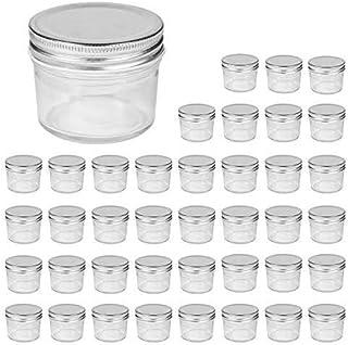 Accguan 4oz Glass Jars With Lids(Silver),Mason Jars,glass jars with lids,Ideal For Honey,Jam,Baby Foods,Wedding Favor,DIY ...