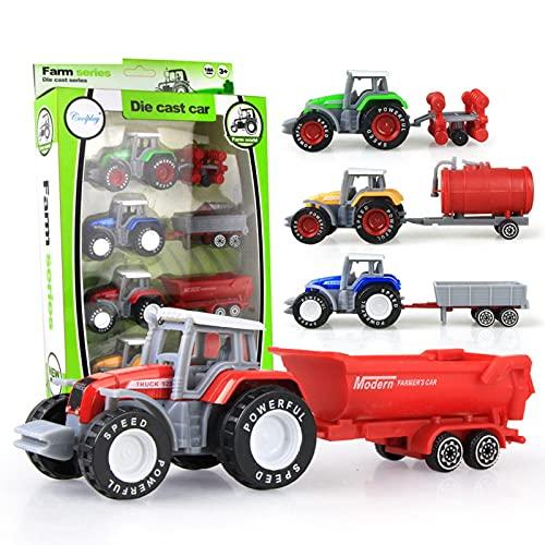 NGLSCXR 4個のトラクター車のモデルのおもちゃ、合金の農場のトラクターのおもちゃセット、農家車の自動車のおもちゃ、ミニダイキャストメタル合金農家車の車のモデルのおもちゃ、子供たちの子供のための贈り物