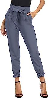 b4ad7a38e9a4 GRACE KARIN Pantaloni Donna Eleganti Vita Alta Casual con Cintura a Vita  Alta Decorato con Fiocco