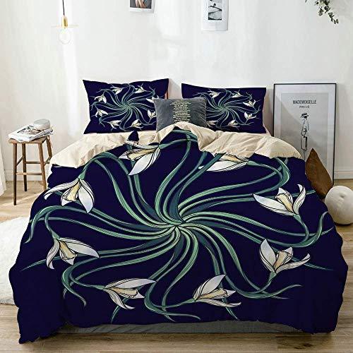 Yoyon Bettbezug Set Beige, Jugendstil Ethnisches Blumenmuster auf Indigo Hintergrund Natur Thema, dekorative 3-teilige Bettwäsche Set mit 2 Kissen Shams