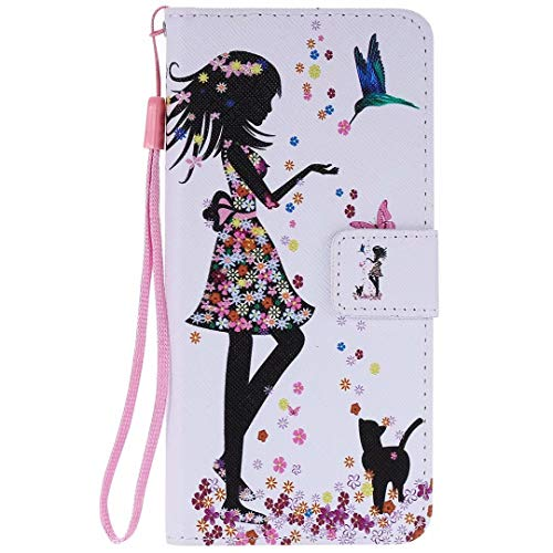 Miagon PU Cuir Coque pour iPhone XR,Coloré Motif Portefeuille Étui Housse Cover avec Stand Support Porte-Cartes de Crédit,Fille Chat Fleur