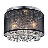 Black Mini Chandeliers Drum Gauze Crystal Modern Ceiling Light Fixture 3-Light for Bedroom Foyer