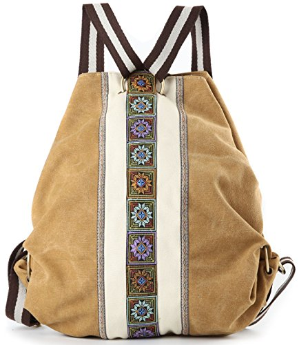 Women Canvas Backpack Daypack Casual Shoulder Bag, Vintage Heavy-duty Anti-theft Travel Backpack (Yellow)