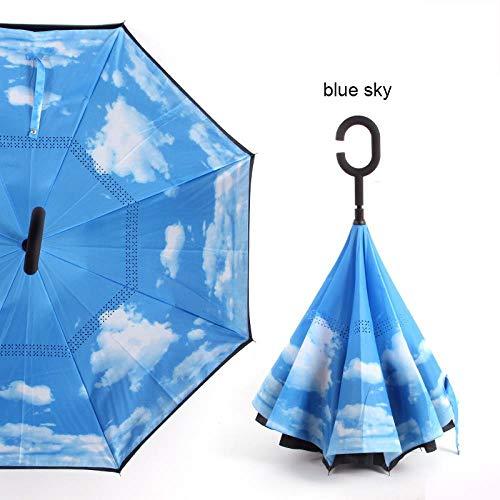 AJIAO Regenschirm Sternenhimmel Anti-UV-Inverted Umbrella Reverse Windproof Folding Double Layer Regenschirme Stehen in sonnigen und regnerischen Männern und Frauen,Blauer Himmel