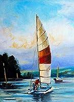 十代の若者たちのための数字で描く数字で描くキット青い海景ヨット大人と子供のための数字で描くDIY油絵ギフトキット印刷済み