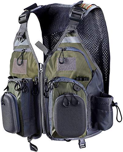 PELLOR Angel Westen, Atmungsaktive Weste mit Mehreren Taschen Angeljacke Jagdfischen Outdoor Camping Fotografie (einstellbare Größe) (Armee-grün)