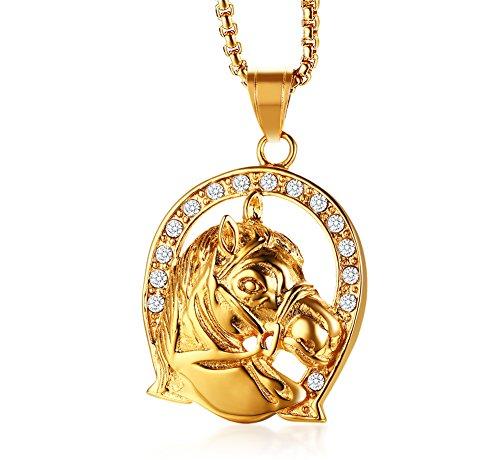 VNOX - Collar con colgante de acero inoxidable chapado en oro con estrás de herradura de caballo y espíritu de la suerte para hombres y mujeres