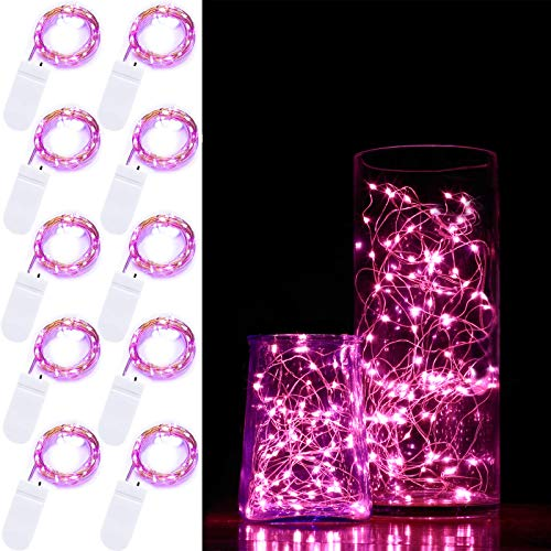 10 Pack 2M Fairy Light 20 LED Battery Operated Fairy String Lights Waterproof Copper Wire Starry String Lights Mason Jar Lights Firefly Lights for DIY Wedding Party Christmas Decor (Pink)