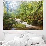 ABAKUHAUS Bosco Tappeto da Parete e Copriletto, Foresta a Golitha Falls, Colori Chiari Non sbiadiscono, 150 x 110 cm, Verde Marrone
