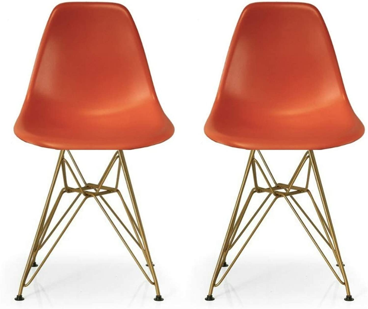 silver Import Eames Style Side Dining Chair with gold Legs Eiffel Dining Room Chair in orange Set of 2