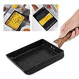 Tamagoyaki Sartén rectangular antiadherente Negro Práctico sartén Suministros de cocina Sartén para huevos