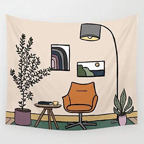 Soggiorno con Poltrona Arancione Arazzo Appeso a Parete Camera Tappeto Dormitorio Arazzi Accessori per Decorazioni per la casa d'Arte 150x100CM