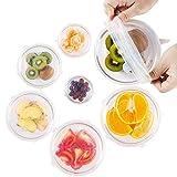 Tapas Ajustables de Silicona Cocina XL-24cm para Alimentos, 7 tamaños, Herméticas y Elásticas, Color Blanco, para Nevera, Congelador, Horno y Microondas; Reutilizables y Ecológicas; SIN BPA