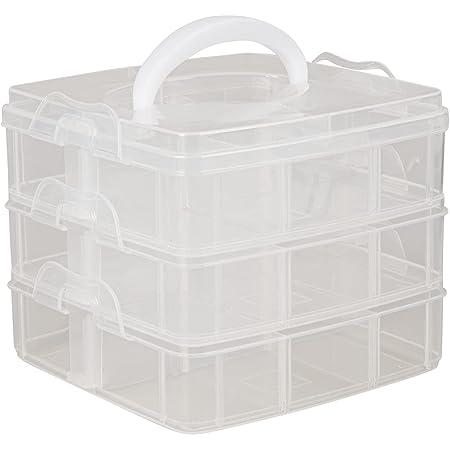 """Rayher boite de rangement en plastique avec poignée de transport €"""" boite de rangement transparente pour ranger vos affaires de scrapbooking €"""" box de rangement €"""" transparent"""