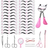 36 Pieces Eyebrow Stencil Shaper Kit, Includes 10 Pieces Eyebrow Trimmers Scissors Eyelash Curler Set and 24 Pairs Reusable Eyebrow Template with 2 Straps, 3 Minutes Makeup Tools for Eyebrows