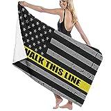 521 I Walk This Line Thin Gold Line Flag Manta De Baño Lujoso Toalla De Playa Personalizada Toallas Baño Microfibra Toallas...