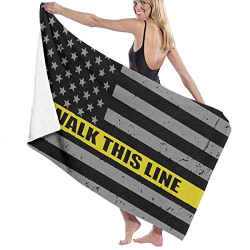521 I Walk This Line Thin Gold Line Flag Manta De Baño Lujoso Toalla De Playa Personalizada Toallas Baño Microfibra Toallas De Bañobe para Yoga Piscina Picnic,80X130Cm