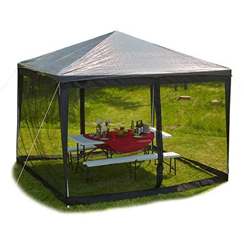 Relaxdays Moskitonetz für 3 x 3 m Pavillon, 2 Seitenteile, mit Reißverschluss, Klettband, 12 m XL Mückennetz, schwarz