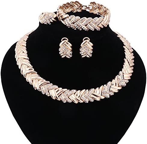 WANG Dubai Gold Plated Crystal Necklace Earrings Bracelet Ring African Beads Jewelry Set